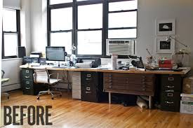a sharp office makeover complete with a diy retractable standing
