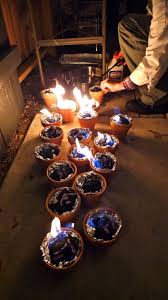 light charcoal in terracotta pots lined with foil for tabletop s