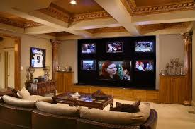 luxurious cool basement ideas for media room with brown leather