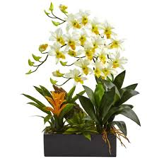 dendrobium orchid nearly dendrobium orchid and bromeliad silk arrangement