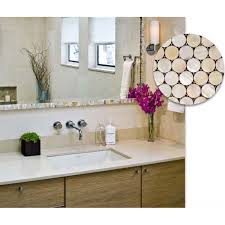 Mosaic Bathroom Mirrors by Penny Round Mother Of Pearl Kitchen Backsplash