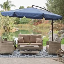 Patio Umbrellas Offset 11 Ft Offset Patio Umbrella In Blue With Base And Detachable