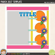 free digital scrapbooking template march challenge kate