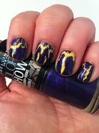 nail art yellow with purple crackle workaday beauty