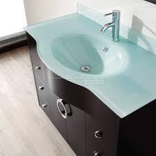 42 inch contemporary bathroom vanity espresso finish glass top