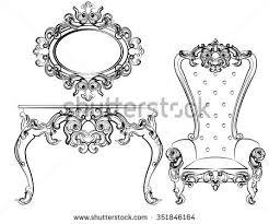 baroque royal set furniture damask ornaments stock vector