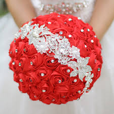 Red Wedding Bouquets White Purple Wedding Bouquets Brooch Royal Blue Red Bridal Crystal