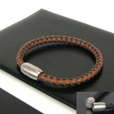 How To Make Magnetic Jewelry - 7mm brown u0026 black stripe leather braided bracelet with magnetic