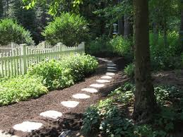 backyard garden with pathway and mulches choosing the right