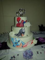 Hand Painted Superhero Wedding Cake Cakecentral Com