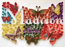 custom name wall hanging quilling butterfly