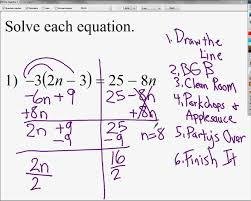 solving equations with variables on both sides and with distributive property you