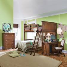 Bunk Bed With Crib On Bottom by Brown Lacquered Mahogany Wood Full Bunk Bed Mixed Green Wall Color