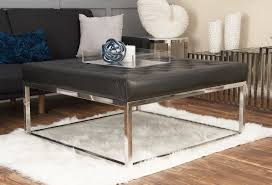 padded coffee table cover cole grey stainless steel and leather coffee table reviews wayfair