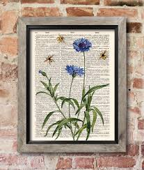 bees cornflower print dictionary art print old book pages