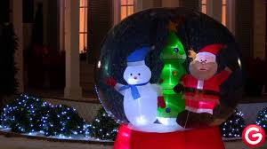 gemmy airblown snow globe santa w snowman youtube