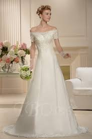 a line floor length chapel bateau short sleeves wedding dress