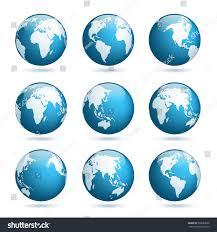world map globe image earth globe world map set planet stock vector 599063066