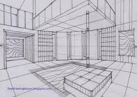 sketch room draw a room with a curve wall in two point perspective sketch