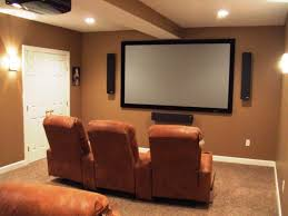 small home basement media room ideas brown leather sofas white