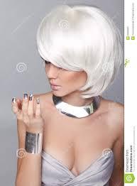 short white hair fashion blond girl beauty portrait woman white short hair iso