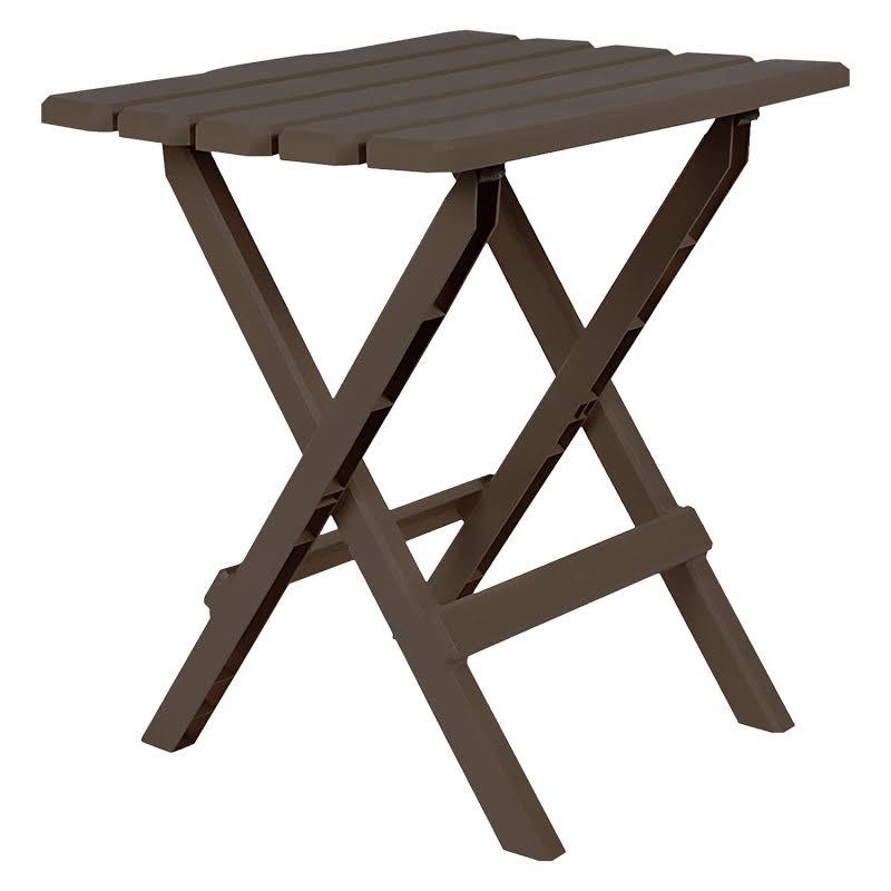 Camco 51886 Large Adirondack Portable Outdoor Furniture Folding Table, Mocha