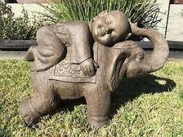 buddha on elephant garden ornament statue indoor or outdoor ebay