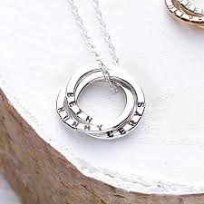 Mothers Necklaces With Children S Names Personalised Russian Ring Necklace By Posh Totty Designs