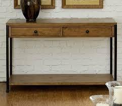 wood and metal console table with drawers berserk european metal wood brown black monolith american rural iron
