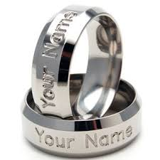 Personalized Name Ring Titanium Ring 8mm Personalized Name Ring Titanium Band Ring Sz 4