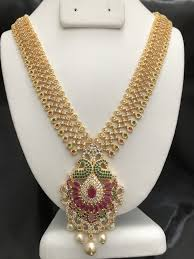 long necklace pearl images Beautiful traditional multicolor stones with pearls long necklace jpg