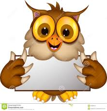 cute owl cartoon holding blank sign stock image image 35323041