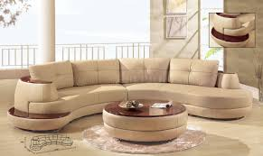 Modern Sectional Leather Sofas Beige Leather Modern Sectional Sofa W Cherry Wooden Shelf