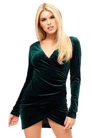 viera green long sleeve velvet wrap dress miss g couture