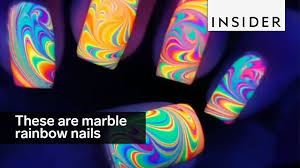 these water marble rainbow nails are magical youtube