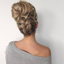 Fancy Updo Hairstyles For Long Hair by Upside Down Chunky Braid Into A Messy Bun Easy Yet Fun Hair