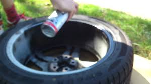 spraying your rims with a spray can matte black