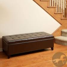 Ottoman Storage Bench Best Selling Mission Brown Tufted Leather Storage Ottoman Bench