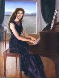 carla bruni playing piano painting