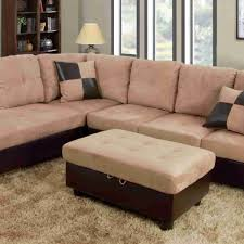 Microsuede Storage Ottoman F103a U2013 Beige Brown Microfiber U0026 Faux Leather Sectional Set With