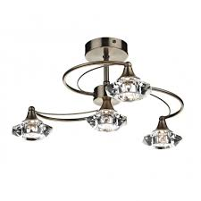 Brushed Brass Light Fixtures by Dar Luther Lut0475 Crystal Ceiling Lighting Dar Brass 4 Light