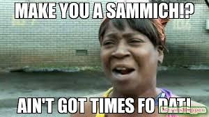 Sammich Meme - make you a sammich ain t got times fo dat meme aint nobody got
