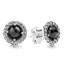 silver stud earrings uk pandora silver sparkling black spinel cubic zirconia stud earrings