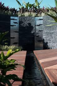 garden modern twin outdoor water walls design ideas with chrome