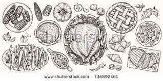thanksgiving dinner top view food vector stock vector 736892461