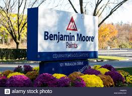 a logo sign outside of the headquarters of benjamin moore paints