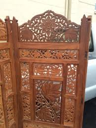 hand carved hard wood room divider changing screen 4 panel 74 tall