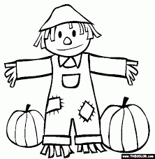 fall scarecrow and pumpkins coloring page with scarecrow color