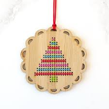 cross stitch bamboo ornament kit bright tree