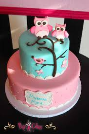 birthday cake pink blue 2 tiers owls fondany figurines u2013 pixy